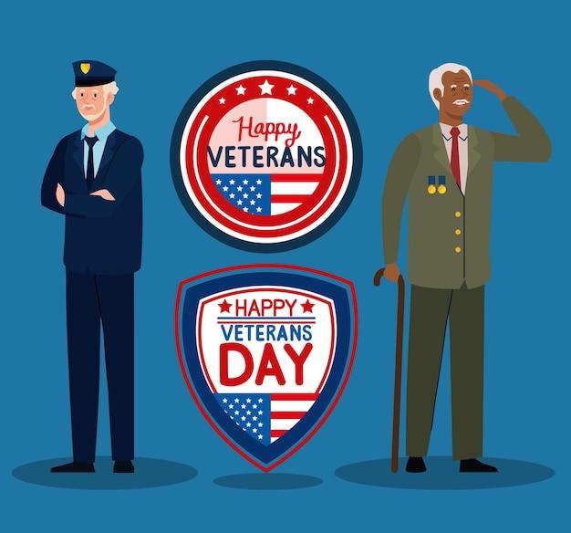 Dois veteranos e emblemas