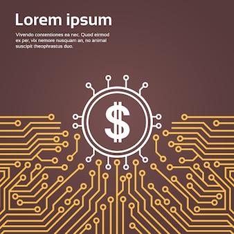 Dolar, assine, computador, chip, moterboard, backgroung, rede, dados, centro, sistema, conceito, bandeira