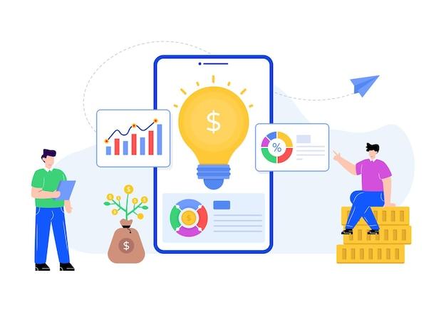 Dólar com lâmpada denotando ilustração plana de soluções financeiras