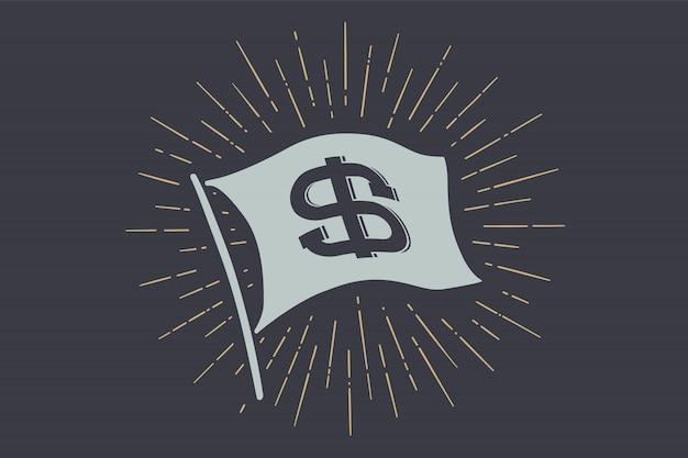 Dólar da bandeira. bandeira da velha escola com sinal usd