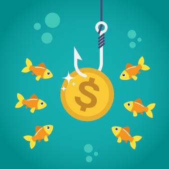 Dólar da moeda no gancho de pesca