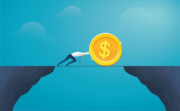 Dólar de moeda de impulso de empresário atravessar a montanha