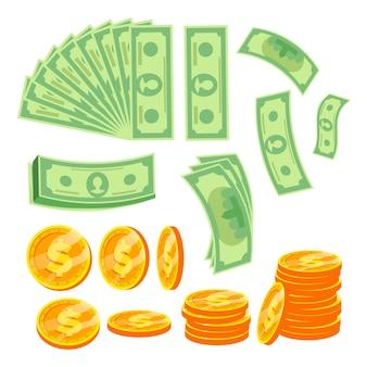 Dólar de papel e moedas de ouro.