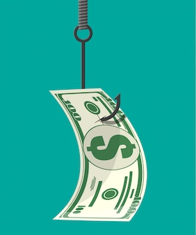 Dólar no anzol de pesca. conceito de armadilha de dinheiro.