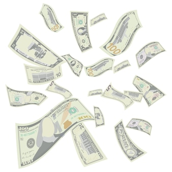 Dólares americanos voando