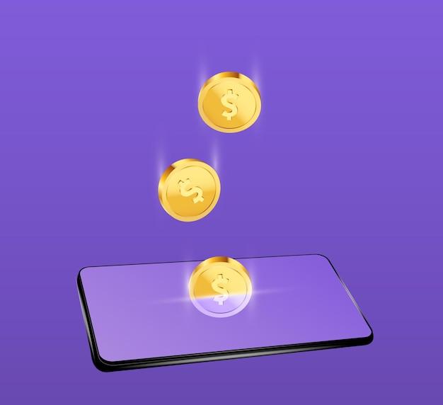 Dólares de moedas de ouro caindo no telefone conceito de transferência de dinheiro