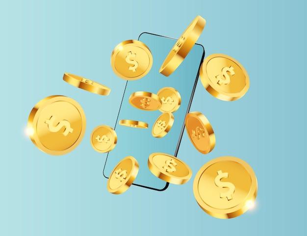 Dólares de moedas de ouro voando do telefone sobre fundo azul
