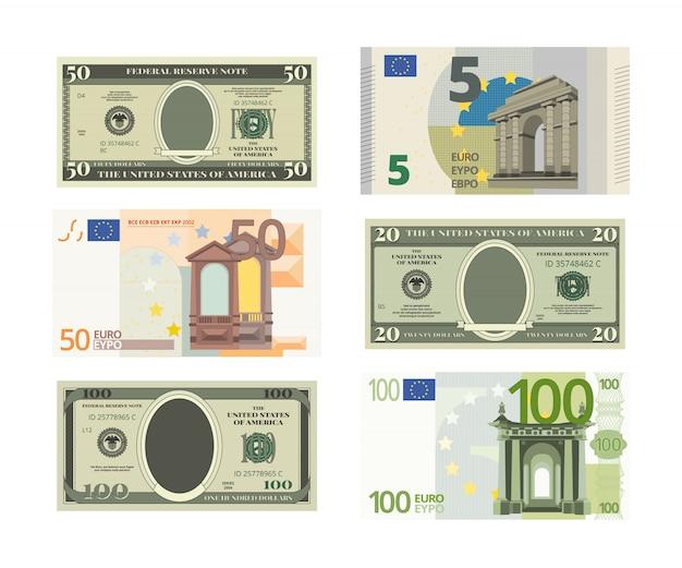 Dólares falsos e euro.