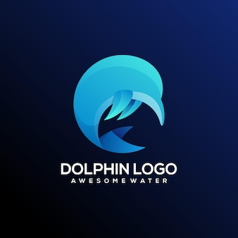 Dolphin logo gradiente abstrato colorido