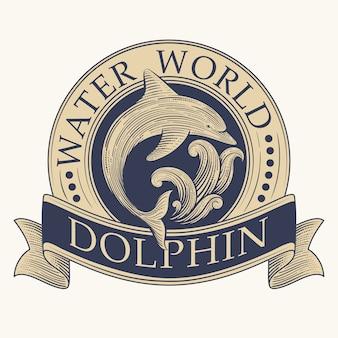 Dolphin retro label