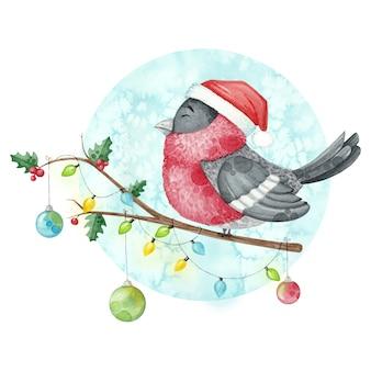 Dom-fafe de ilustração em aquarela de natal em um galho com uma guirlanda.