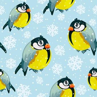 Dom-fafe pássaros mamas padrão sem emenda com queda de neve. fundo de coleção de feliz natal. textura de inverno. ilustração vetorial.