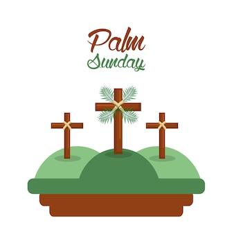 Domingo de palmeiras três cruza no cartão de montanhas