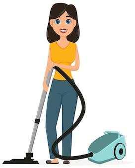 Dona de casa, aspirar para casa com um aspirador de pó