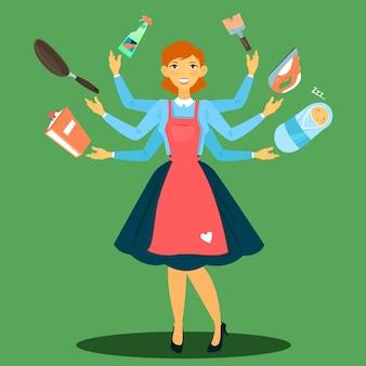 Dona de casa bem sucedida. mulher multitarefa. esposa perfeita. jovem mãe.