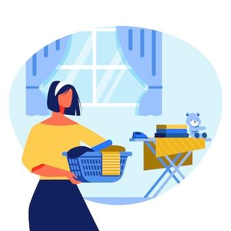 Dona de casa com caixa na tábua de passar do fundo.