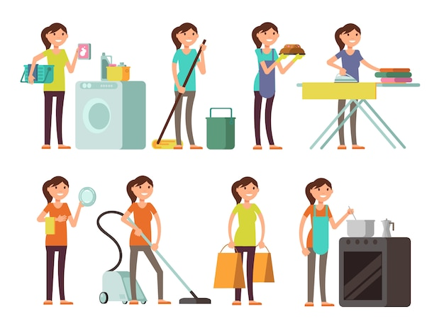 Dona de casa dos desenhos animados no jogo do vetor da atividade do housework. mulher feliz, executar, lar