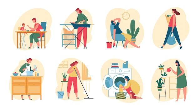 Dona de casa fazendo trabalho doméstico mulher cozinhando comida lavando roupa regando planta compra limpeza casa