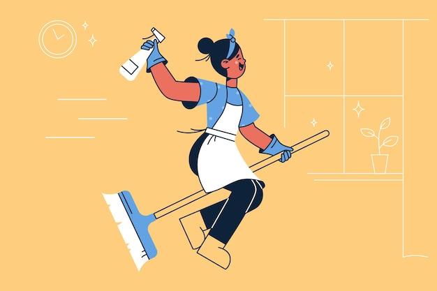 Dona de casa feliz na ilustração de vassoura