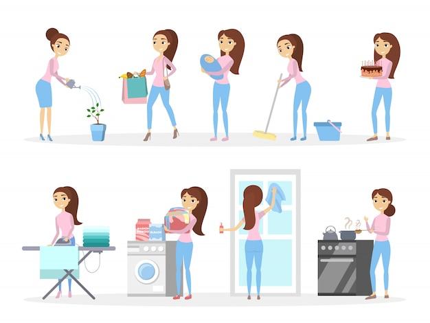 Dona de casa isolada conjunto de cozinhar, limpar e muito mais.