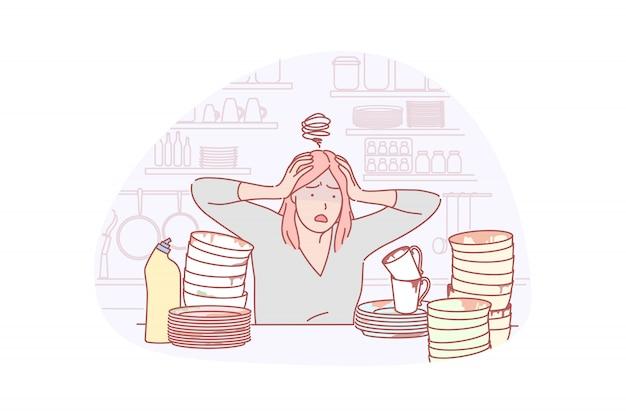 Dona de casa, lavar louça, ilustração de carga de trabalho
