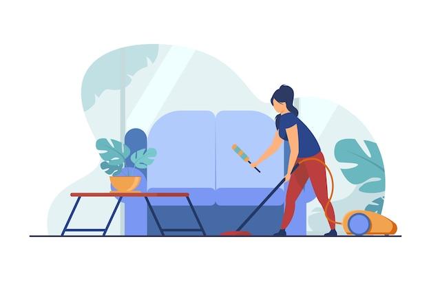 Dona de casa limpando a casa com aspirador de pó. sofá, casa, ilustração vetorial plana de quarto. doméstico e serviço de limpeza