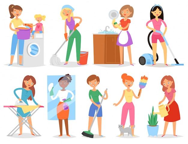 Dona de casa mulher tarefas domésticas e mantendo a casa limpa com aspirador e máquina de lavar roupa ou ferro ilustração
