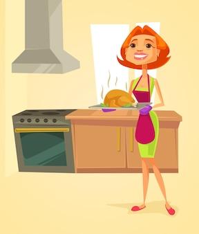 Dona de casa na cozinha segurando ilustração de desenho animado de frango frito