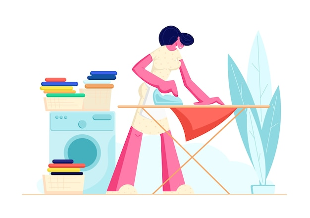 Dona de casa passando linho claro em casa.