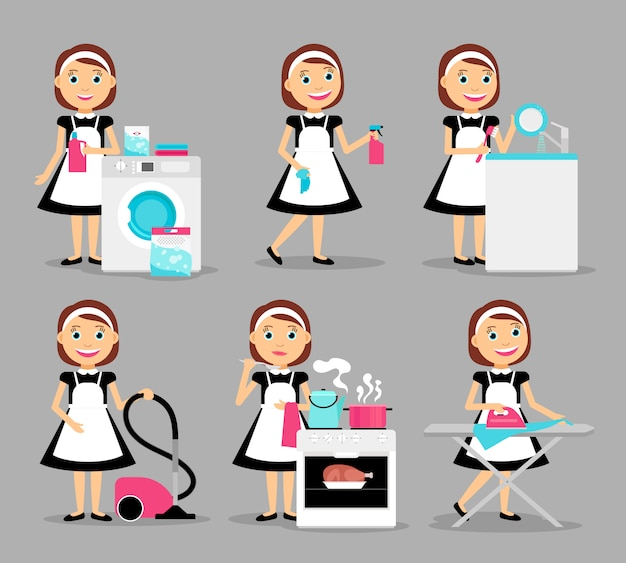 Dona de casa trabalhando ícones