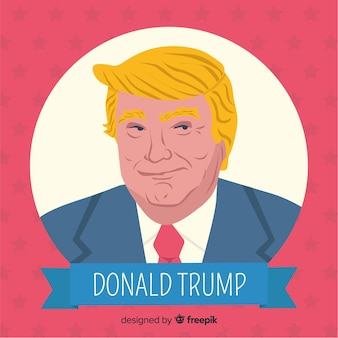 Donald trump retrato com design plano