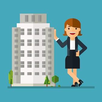 Dono de mulher de negócios de edifícios Vetor Premium