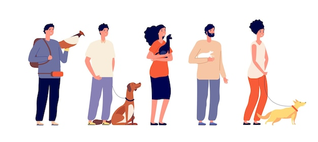 Donos de animais de estimação. mulher homem abraçando animais de estimação. pessoas isoladas com cachorro-gato, pássaro e rato. animais domésticos, personagens de jovens amigos em pé. personagem de homem e mulher, ilustração de cachorro amigo