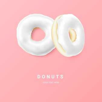 Donut branco isolado em um fundo claro. rosquinhas de chocolate coloridas. vários donuts vitrificados. ilustração vetorial.