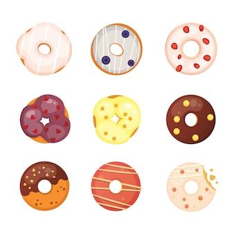 Donut catoon com ilustração de esmalte.