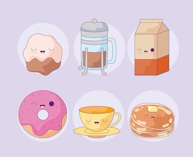 Donut com conjunto de comida estilo kawaii