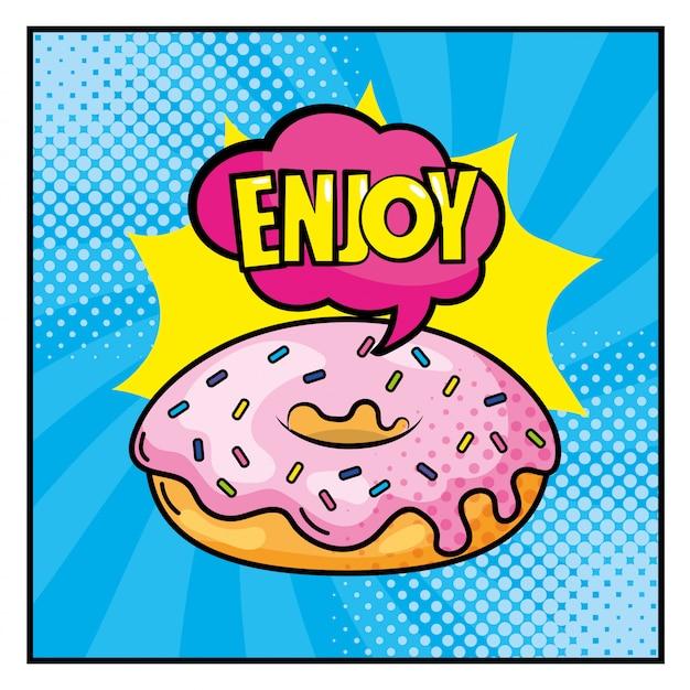 Donut com desfrutar dentro da mensagem de arte pop nuvem