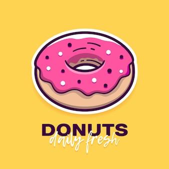 Donut com glacê rosa e texto