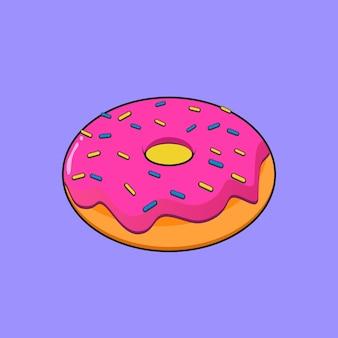 Donut com ilustração plana de creme de morango