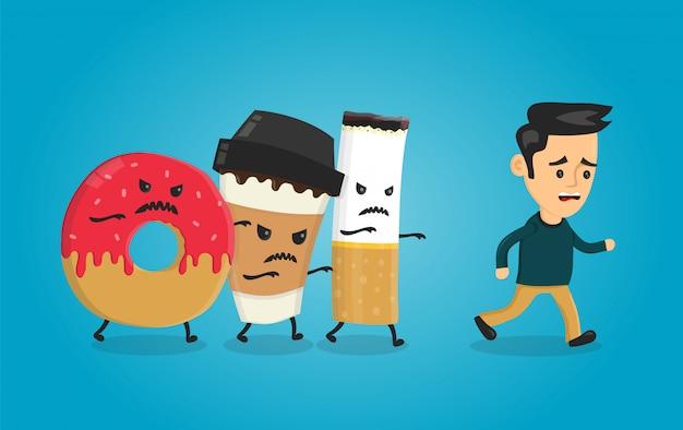 Donut com raiva, copo de papel de café e cigarro atropela cara de homem. pesadelo para a saúde. personagem de desenho animado plana ilustração isolada. concpet de assistência médica