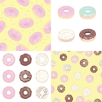Donut conjunto ilustração e padrão sem emenda