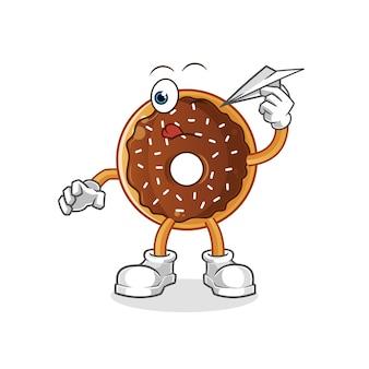 Donut de chocolate com avião de papel. mascote dos desenhos animados
