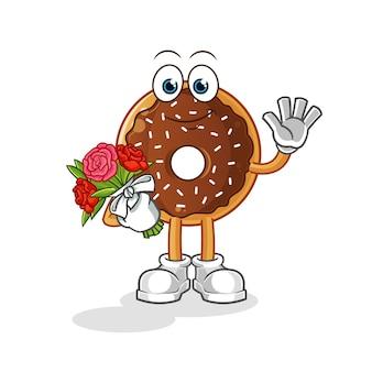 Donut de chocolate com mascote do buquê. desenho animado