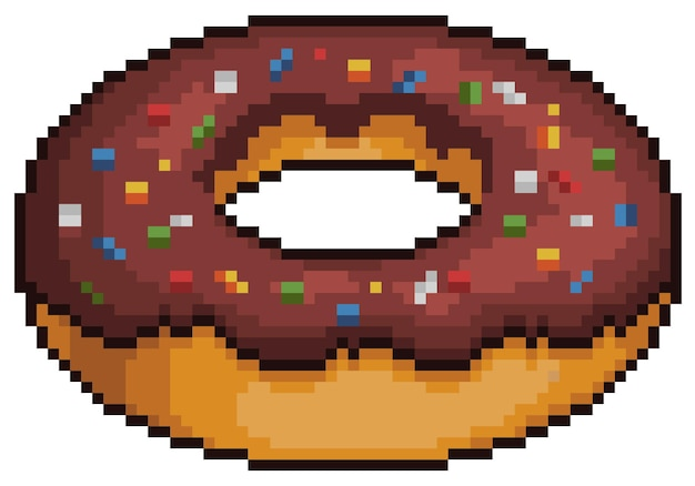 Donut de chocolate pixel art. item de jogo de bits