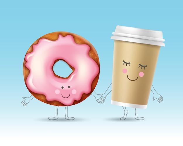 Donut de vetor e personagens de xícara de café com rostos sorridentes de mãos dadas