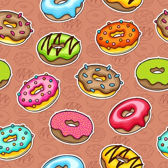 Donut doodle padrão sem emenda colorido