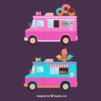 Donut e caminhões de sorvete