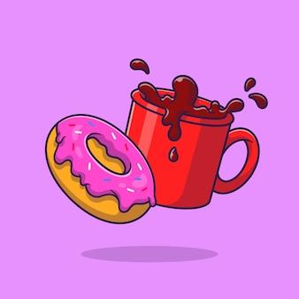 Donut e ilustração dos desenhos animados do café. estilo flat cartoon