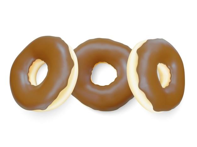 Donut marrom isolado na luz de fundo. rosquinhas de chocolate coloridas. vários donuts vitrificados. ilustração vetorial.