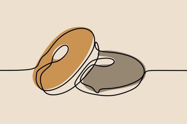 Donut on-line linha artística contínua